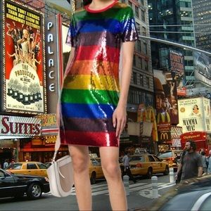 NWT Michael Kors Rainbow Sequin T Shirt Dress
